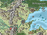 CC3+ fantasy map, Mike Schley style